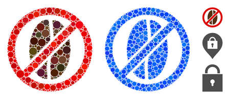 No caffeine mosaic of filled circles in various sizes and color tones, based on no caffeine icon. Vector small circles are combined into blue mosaic. Vector Illustratie