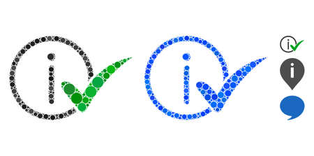 Truth information mosaic of spheric dots in variable sizes and color tinges, based on truth information icon. Vector round dots are united into blue mosaic. Vector Illustration