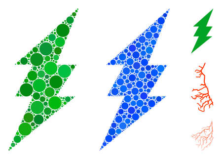 Lightning mosaic of filled circles in different sizes and color hues, based on lightning icon. Vector filled circles are united into blue illustration. Dotted execute icon in usual and blue versions.
