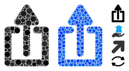 Upload composition of round dots in variable sizes and shades, based on upload icon. Vector round dots are grouped into blue composition. Dotted upload icon in usual and blue versions.