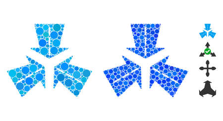 Merge directions mosaic of small circles in variable sizes and color tints, based on merge directions icon. Vector random circles are composed into blue mosaic.
