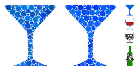 Alcohol glass mosaic of small circles in variable sizes and color tinges, based on alcohol glass icon. Vector small circles are united into blue composition.