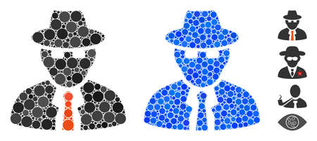 Spy composition of small circles in different sizes and color tints, based on spy icon. Vector random circles are grouped into blue composition. Dotted spy icon in usual and blue versions. Ilustração