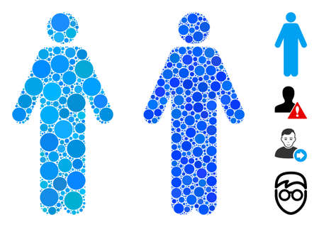 Man composition of circle elements in various sizes and shades, based on man icon. Vector circle elements are united into blue composition. Dotted man icon in usual and blue versions. Vektoros illusztráció