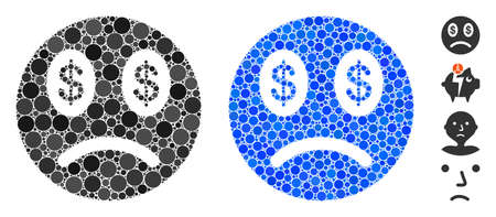 Sad business smiley composition of small circles in various sizes and color tinges, based on sad business smiley icon. Vector dots are grouped into blue composition.