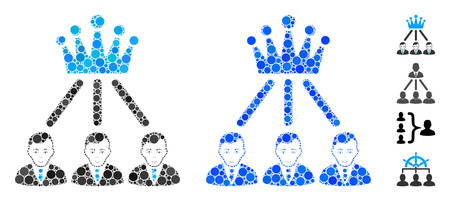 Hierarchy men composition of filled circles in different sizes and color tones, based on hierarchy men icon. Vector random circles are organized into blue illustration. Illustration