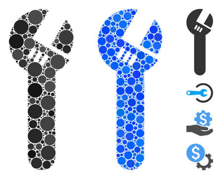 Spanner mosaic of filled circles in various sizes and color hues, based on spanner icon. Vector filled circles are combined into blue illustration. Dotted spanner icon in usual and blue versions.