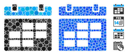 Calendar composition of round dots in various sizes and color hues, based on calendar icon. Vector dots are grouped into blue composition. Dotted calendar icon in usual and blue versions.