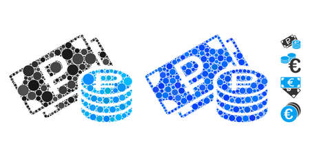 Rouble cash mosaic of circle elements in various sizes and shades, based on rouble cash icon. Vector circle elements are grouped into blue mosaic. Dotted rouble cash icon in usual and blue versions.