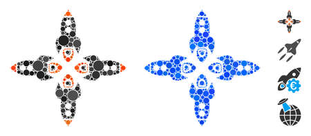 Rockets mosaic of round dots in different sizes and color tinges, based on rockets icon. Vector round dots are combined into blue mosaic. Dotted rockets icon in usual and blue versions.
