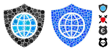 Global shield composition of spheric dots in various sizes and shades, based on global shield icon. Vector round dots are organized into blue composition.