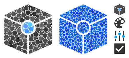 Cube vertex mosaic of small circles in different sizes and color tinges, based on cube vertex icon. Vector small circles are grouped into blue mosaic.