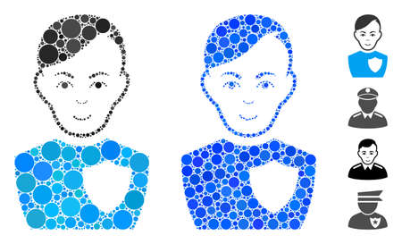 Police officer composition of filled circles in various sizes and shades, based on police officer icon. Vector filled circles are organized into blue mosaic. Illustration