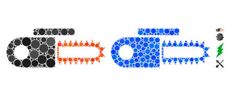 Power saw composition of round dots in variable sizes and color tinges, based on power saw icon. Vector round dots are united into blue composition. Dotted power saw icon in usual and blue versions.