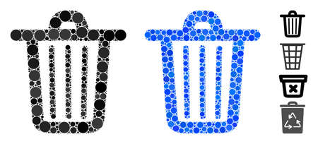 Trash can mosaic of filled circles in various sizes and color tinges, based on trash can icon. Vector filled circles are combined into blue illustration. Vettoriali