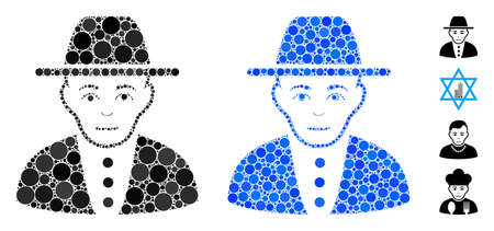 Jew mosaic of round dots in variable sizes and color tints, based on jew icon. Vector round elements are organized into blue mosaic. Dotted jew icon in usual and blue versions.