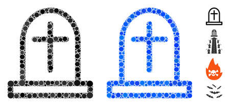 Tombstone composition of round dots in different sizes and shades, based on tombstone icon. Vector round dots are composed into blue composition. Dotted tombstone icon in usual and blue versions.