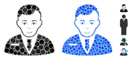 Businessman mosaic of spheric dots in variable sizes and shades, based on businessman icon. Vector dots are grouped into blue mosaic. Dotted businessman icon in usual and blue versions.