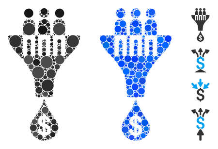 Sales filter mosaic of small circles in different sizes and shades, based on sales filter icon. Vector small circles are grouped into blue mosaic. Dotted sales filter icon in usual and blue versions.