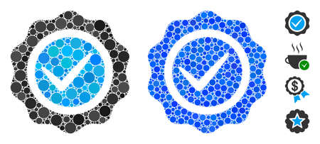 Valid seal mosaic of filled circles in different sizes and color tones, based on valid seal icon. Vector small circles are organized into blue mosaic.