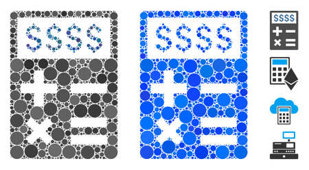Business calculator composition of round dots in various sizes and shades, based on business calculator icon. Vector round elements are composed into blue collage.