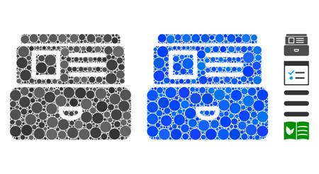 Card index mosaic of circle elements in variable sizes and color hues, based on card index icon. Vector round elements are combined into blue mosaic. Dotted card index icon in usual and blue versions.