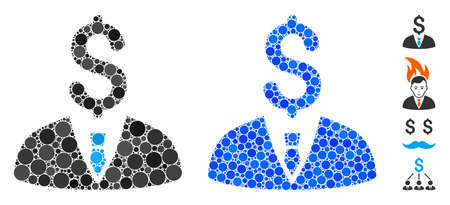 Businessman composition of small circles in various sizes and color tints, based on businessman icon. Vector small circles are organized into blue mosaic.