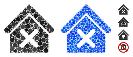 Wrong house composition of round dots in various sizes and shades, based on wrong house icon. Vector round dots are united into blue collage. Dotted wrong house icon in usual and blue versions. Ilustração