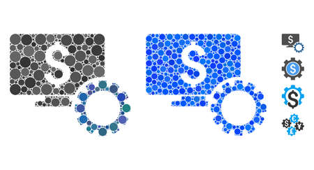 Financial monitoring options composition of circle elements in various sizes and color hues, based on financial monitoring options icon. Vector round elements are combined into blue composition.