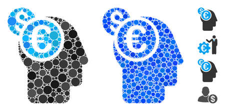 Banker mosaic of round dots in variable sizes and color tones, based on banker icon. Vector round dots are organized into blue collage. Dotted banker icon in usual and blue versions.
