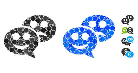 Emotion chat messages mosaic of spheric dots in various sizes and color hues, based on emotion chat messages icon. Vector round dots are organized into blue mosaic.