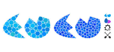 Eggshell mosaic of filled circles in various sizes and shades, based on eggshell icon. Vector small circles are united into blue mosaic. Dotted eggshell icon in usual and blue versions.