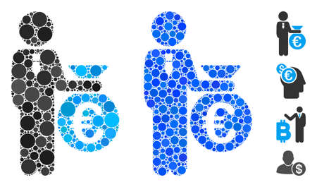 Euro banker composition of round dots in different sizes and color tints, based on Euro banker icon. Vector round elements are grouped into blue composition.