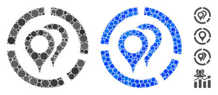 Geotargeting diagram composition of small circles in various sizes and color tinges, based on geotargeting diagram icon. Vector small circles are combined into blue composition.