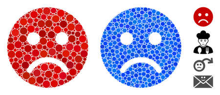 Sad mood smiley mosaic of spheric dots in various sizes and color tints, based on sad mood smiley icon. Vector dots are organized into blue mosaic.