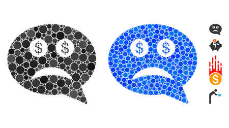 Bankrupt mosaic of small circles in different sizes and color hues, based on bankrupt icon. Vector small circles are combined into blue collage. Dotted bankrupt icon in usual and blue versions.