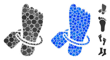 Morgue tagged foot mosaic of small circles in different sizes and color tinges, based on morgue tagged foot icon. Vector random circles are organized into blue mosaic. Illustration