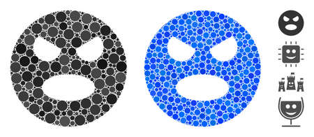 Scream smiley mosaic of small circles in variable sizes and color tints, based on scream smiley icon. Vector small circles are combined into blue collage.