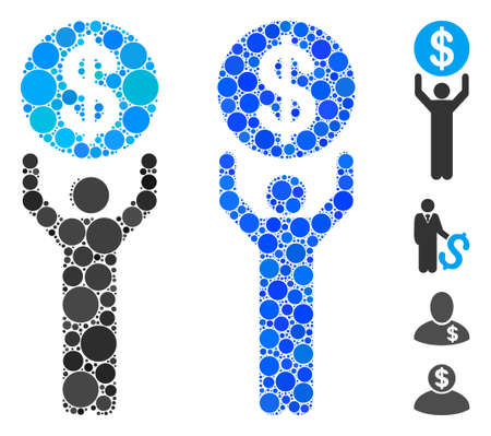 Banker composition of filled circles in various sizes and color tints, based on banker icon. Vector filled circles are composed into blue mosaic. Dotted banker icon in usual and blue versions.