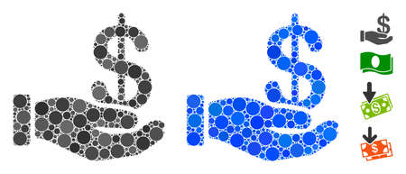 Earnings mosaic of round dots in various sizes and color tones, based on earnings icon. Vector round elements are composed into blue mosaic. Dotted earnings icon in usual and blue versions. Vektoros illusztráció