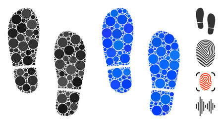 Boot footprints composition of circle elements in different sizes and color hues, based on boot footprints icon. Vector circle elements are united into blue composition. Vetores