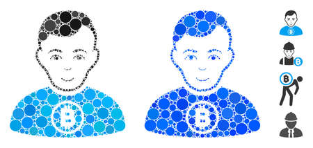 Bitcoin man composition of filled circles in different sizes and color hues, based on Bitcoin man icon. Vector filled circles are united into blue composition.