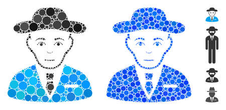 Secret service agent composition of small circles in variable sizes and shades, based on secret service agent icon. Vector filled circles are grouped into blue composition. Ilustração