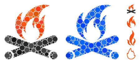 Campfire composition of small circles in various sizes and color tones, based on campfire icon. Vector small circles are composed into blue composition.