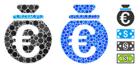 Euro fund composition of small circles in different sizes and color tones, based on Euro fund icon. Vector small circles are composed into blue mosaic.