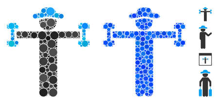 Gentleman fitness mosaic of round dots in variable sizes and color hues, based on gentleman fitness icon. Vector round dots are united into blue illustration.
