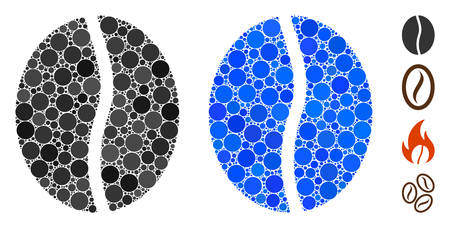 Coffee bean composition of filled circles in variable sizes and color tints, based on coffee bean icon. Vector random circles are composed into blue composition.  イラスト・ベクター素材