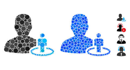 Portal moderator composition of round dots in variable sizes and shades, based on portal moderator icon. Vector round elements are united into blue composition. Ilustracje wektorowe