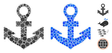 Anchor mosaic of small circles in different sizes and color tints, based on anchor icon. Vector filled circles are composed into blue mosaic. Dotted anchor icon in usual and blue versions.
