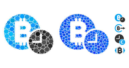 Bitcoin credit time composition of round dots in variable sizes and color tints, based on Bitcoin credit time icon. Vector round dots are organized into blue collage.